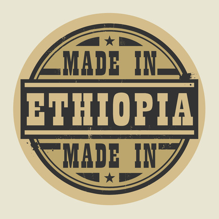 ethiopia abstract: Abstract stamp or label with text Made in Ethiopia, vector illustration