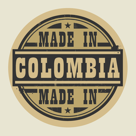 south america: Abstract stamp or label with text Made in Colombia, vector illustration