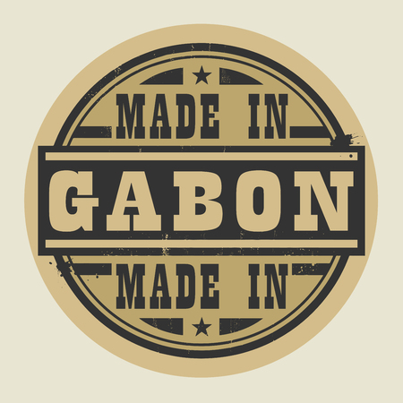 gabon: Abstract stamp or label with text Made in Gabon, vector illustration
