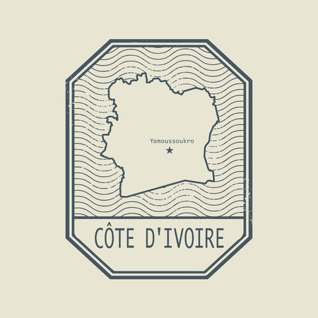 cote d ivoire: Stamp with the name and map of Cote d Ivoire, vector illustration Illustration