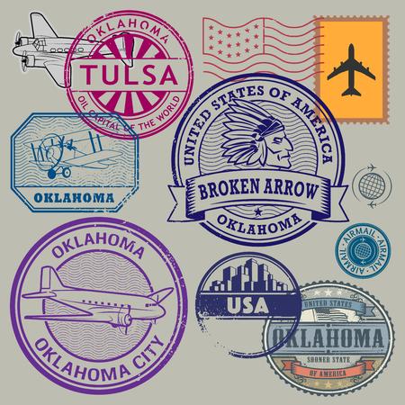 oklahoma: Retro postage USA stamps set, vector illustration