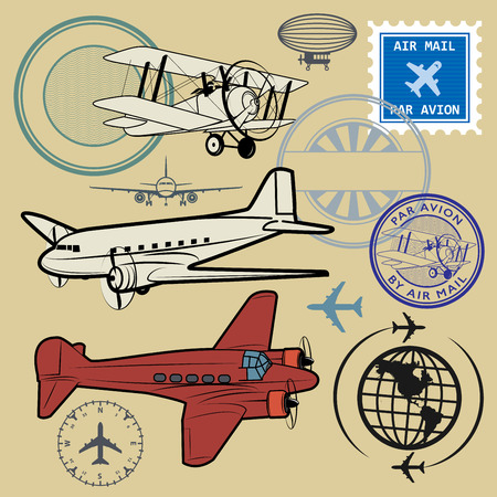 aeroplane: Set of air mail and airplane symbols, vector illustration