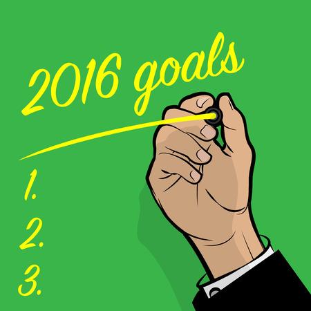 hand writing: Man Hand writing 2016 Goals, vector illustration