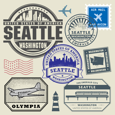 Retro postage USA stamps set, vector illustration