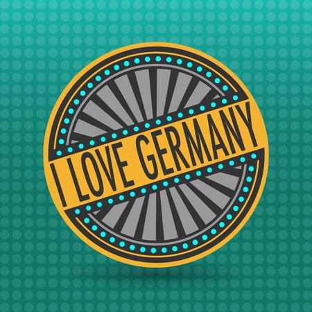 i label: Color label with text I Love Germany inside, vector illustration Illustration