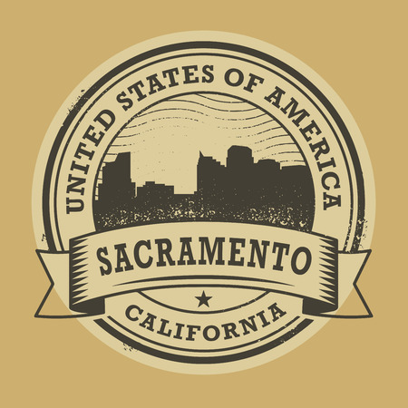 sacramento: Grunge rubber stamp or label with name of Sacramento, California, vector illustration Illustration