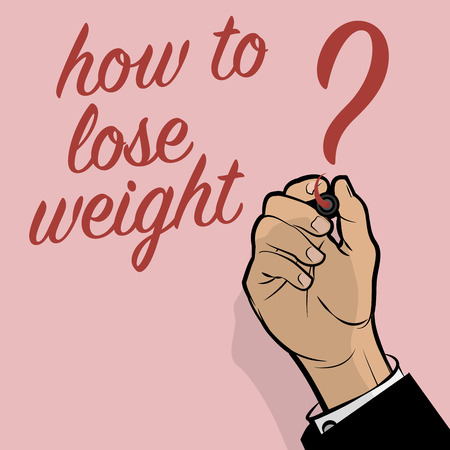 Man Hand writing How To Lose Weight?, vector illustration Çizim