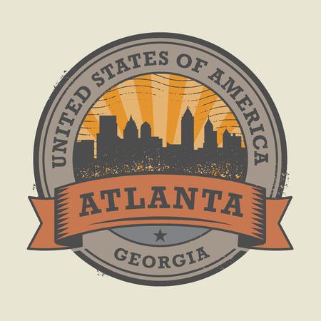 atlanta: Grunge rubber stamp or label with name of Atlanta, Georgia, vector illustration