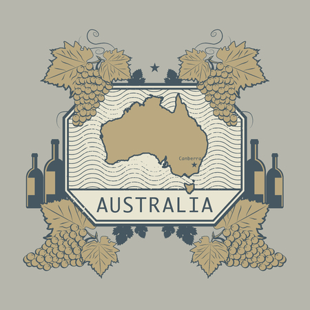 australia stamp: Vintage wine label, vector illustration
