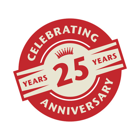 Stamp or label with the text Celebrating 25 years anniversary, vector illustration