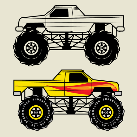 car side view: Race truck, vector illustration
