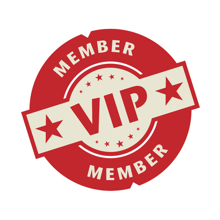 vip: Stamp or label with the text VIP member, vector illustration Illustration
