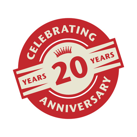 20: Stamp or label with the text Celebrating 20 years anniversary, vector illustration Illustration