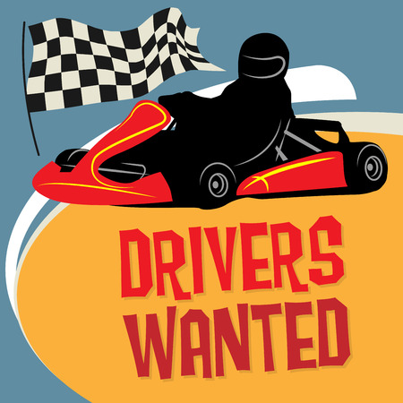 car driver: Karting Go Cart race poster, vector illustration Illustration