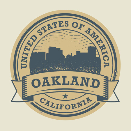 oakland: Grunge rubber stamp or label with name of Oakland, California, vector illustration