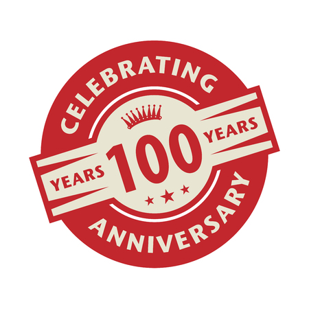 hundred: Stamp or label with the text Celebrating 100 years anniversary, vector illustration