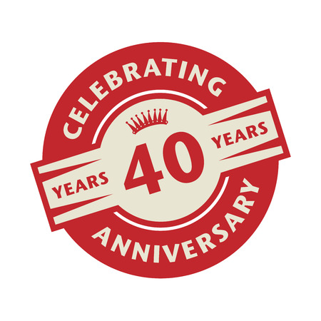 40: Stamp or label with the text Celebrating 40 years anniversary, vector illustration
