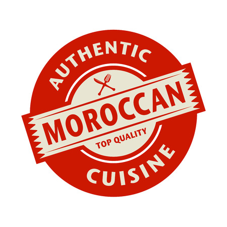 moroccan cuisine: Abstract stamp or label with the text Authentic Moroccan Cuisine written inside, vector illustration