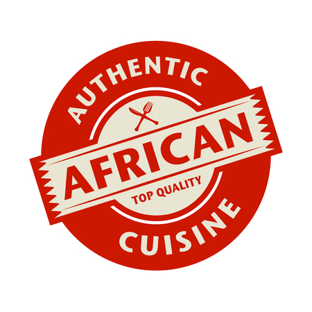 cuisine: Abstract stamp or label with the text Authentic African Cuisine written inside, vector illustration