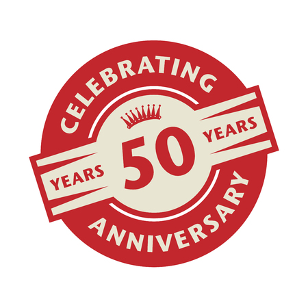 50 years: Stamp or label with the text Celebrating 50 years anniversary, vector illustration Illustration