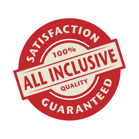 inclusive: Stamp or label with the text All inclusive, vector illustration