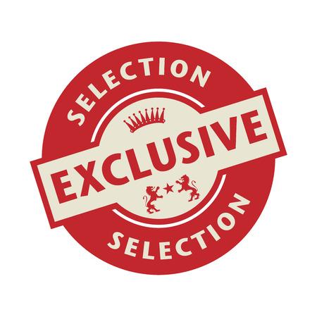 sello: Sello o etiqueta con el, la ilustración vectorial de texto Exclusive Selection