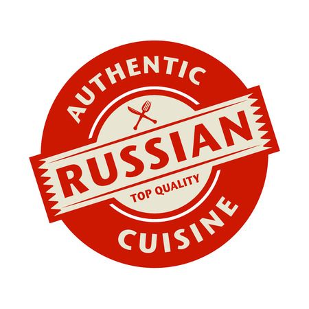 russian cuisine: Abstract stamp or label with the text Authentic Russian Cuisine written inside, vector illustration Illustration