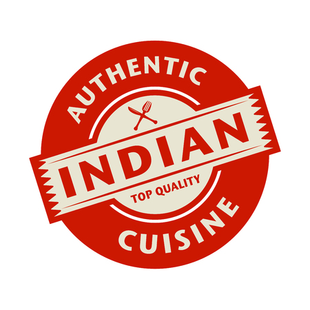 restaurant sign: Abstract stamp or label with the text Authentic Indian Cuisine written inside, vector illustration Illustration