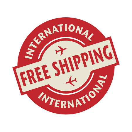 free illustration: Stamp or label with the text Free Shipping International, vector illustration