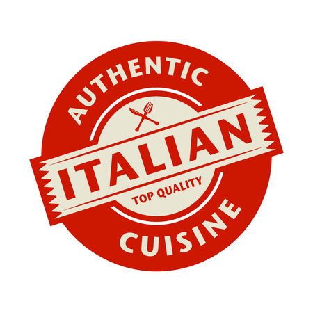 italian cuisine: Abstract stamp or label with the text Authentic Italian Cuisine written inside, vector illustration
