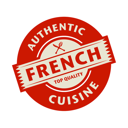 french cuisine: Abstract stamp or label with the text Authentic French Cuisine written inside, vector illustration