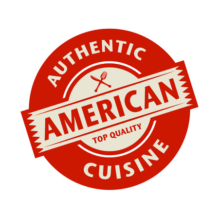 american cuisine: Abstract stamp or label with the text Authentic American Cuisine written inside, vector illustration