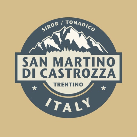 martino: Abstract stamp with the name of town San Martino di Castrozza in Italy, vector illustration