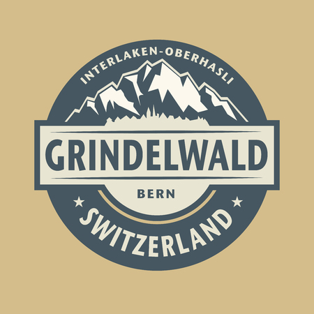 original circular abstract: Abstract stamp with the name of town Grindelwald in Switzerland, vector illustration Illustration