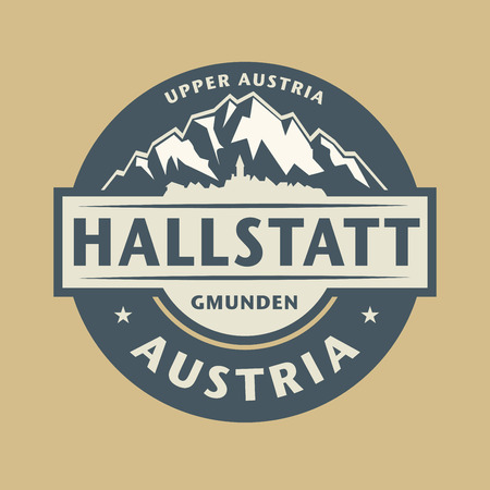 european alps: Abstract stamp with the name of town Hallstatt in Austria, vector illustration Illustration