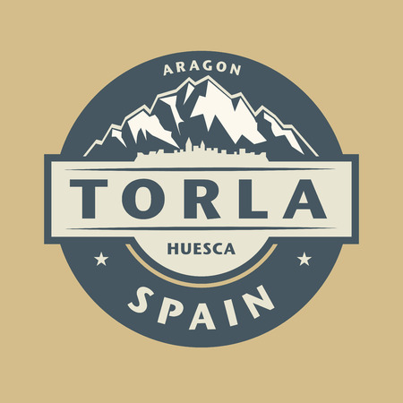 original circular abstract: Abstract stamp with the name of town Torla in Spain, vector illustration