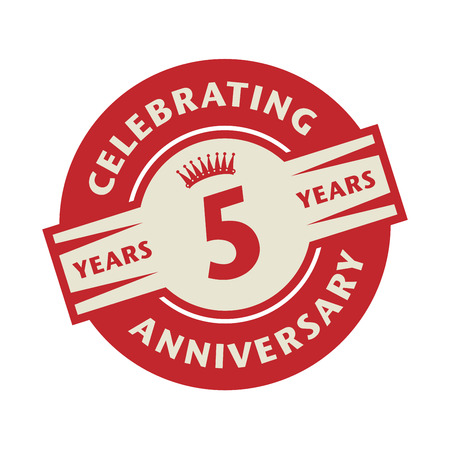 5 years: Stamp or label with the text Celebrating 5 years anniversary, vector illustration Illustration
