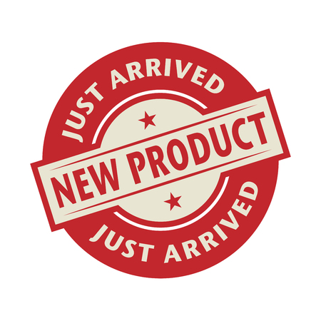 Stamp or label with the text New Product, Just Arrived, vector illustration Vectores