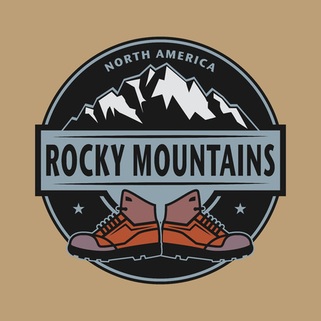 Stamp or emblem with text Rocky Mountains, North America, vector illustration