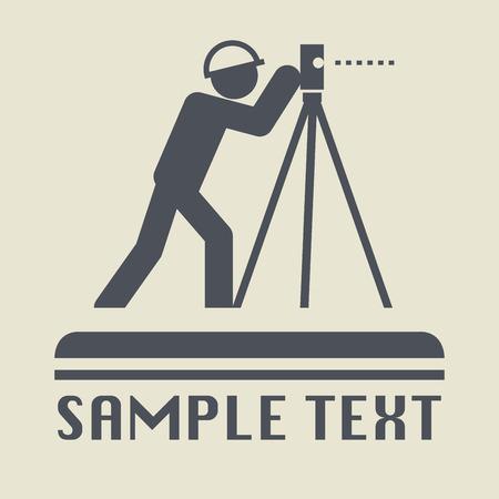 topografo: icono de agrimensor o signo, ilustración vectorial