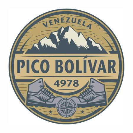 hiking shoes: Stamp or emblem with text Pico Bolivar, Venezuela, vector illustration