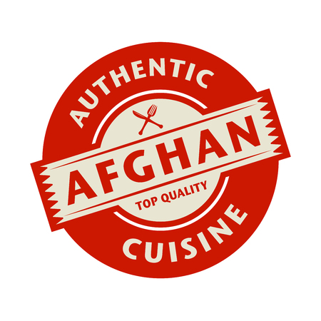 afghan: Abstract stamp or label with the text Authentic Afghan Cuisine written inside, vector illustration Illustration
