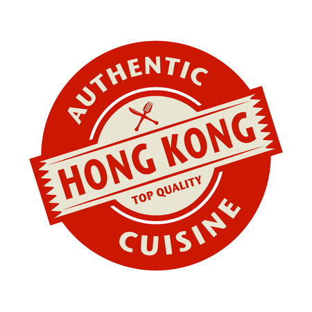 hong: Abstract stamp or label with the text Authentic Hong Kong Cuisine written inside, vector illustration