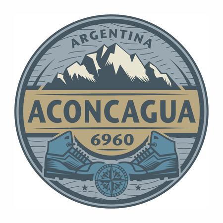 スタンプやテキスト アコンカグア、アルゼンチンは、ベクター グラフィックをあしらったエンブレム