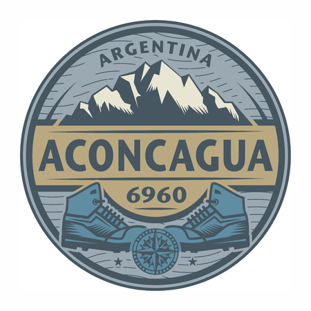 aconcagua: Stamp or emblem with text Aconcagua, Argentina, vector illustration