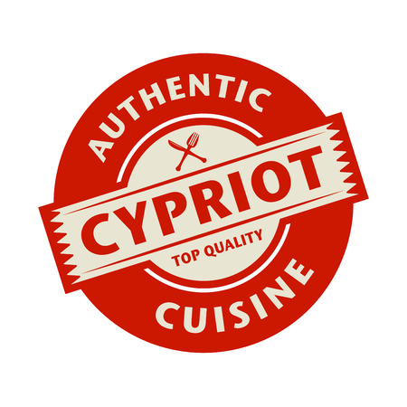 cypriot: Abstract stamp or label with the text Authentic Cypriot Cuisine written inside, vector illustration