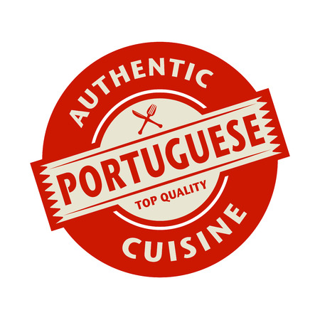 Abstract stamp or label with the text Authentic Portuguese Cuisine written inside, vector illustration