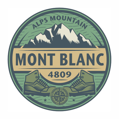 alps: Stamp or emblem with text Mont Blanc, Alps Mountain, vector illustration