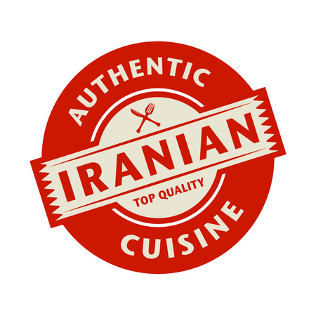 cuisine: Abstract stamp or label with the text Authentic Iranian Cuisine written inside, vector illustration Illustration
