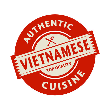 cuisine: Abstract stamp or label with the text Authentic Vietnamese Cuisine written inside, vector illustration Illustration